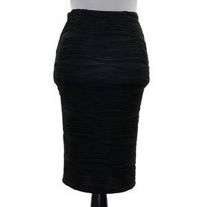 Nana Black Stretchy Textured Midi Bodycon Skirt S